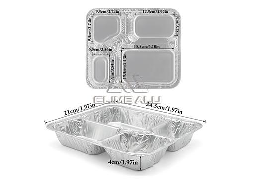 4 compartment aluminium container